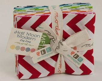 SALE!! - Half Moon Modern Zig Zag Fat Quarter Bundle - 12 Different Chevron Prints - Cotton Quilt Fabric - Moda Fabrics - 32216-AB (W601)