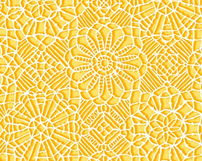 AMAZING LACE - Lace in Canary Yellow / White - (Not Actual Lace!!) Cotton Quilt Fabric - Quilting Treasures Fabrics - 24632-SO (W5227)