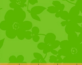 Fat Quarter Spin - Medium Floral in Green - Cotton Quilt Fabric - by Whistler Studios for Windham Fabrics (W1260)