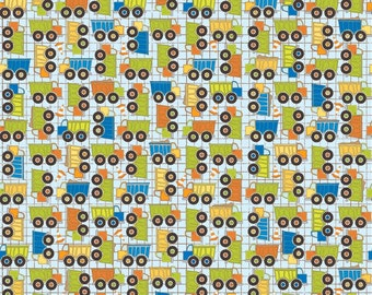 SUPER CLEARANCE! One Yard On The Go - Trucks in Blue - Cotton Quilt Fabric - Bo Bunny for Riley Blake Fabrics - C3183-BLUE (W563)
