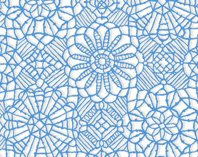 AMAZING LACE - Lace in White / Cobalt Blue - (Not Actual Lace!!) Cotton Quilt Fabric - Quilting Treasures Fabrics - 24632-ZW (W5239)