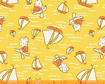 Storybook Vacation - Sailing Dogs in Yellow / Orange - Cotton Quilt Fabric - by Whistler Studios for Windham Fabrics - 41077-3 (W3369)