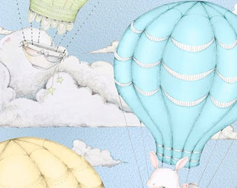 UP, UP and AWAY - Hot Air Balloon Scenic in Blue - Cotton Quilt Fabric - Stacy Yacula for Quilting Treasures Fabrics - 26673-B (W5013)