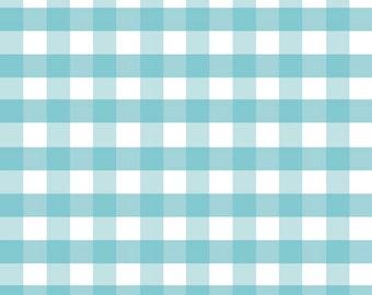 "Fat Quarter Large Gingham - 1/2"" Squares in Aqua Blue - Cotton Quilt Fabric - C460-20 - RBD Designers for Riley Blake Designs (W2434)"