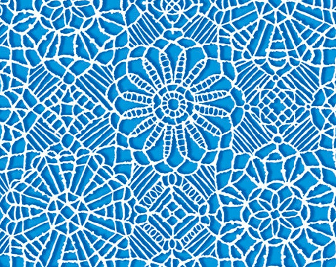 AMAZING LACE - Lace in Cobalt Blue / White - (Not Actual Lace!!) Cotton Quilt Fabric - Quilting Treasures Fabrics - 24632-W (W5228)