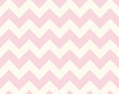1-1 4 Yard REMNANT Le Creme Chevron - Medium Chevron on Cream in Baby Pink - Cotton Quilt Fabric - C640-75 - Riley Blake Fabrics (W2463)