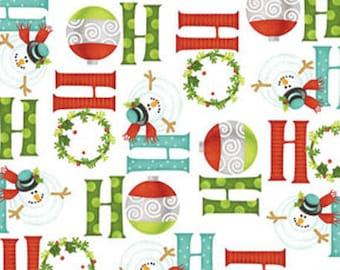 Ho-Ho-Ho Let It Snow - Ho-Ho-Ho in Multi White - Christmas Holiday Cotton Fabric - By Nancy Halvorsen for Benartex Fabrics - 3295-9 (W979)