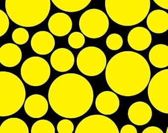 Half Yard .Com or Dot Com - Mono Circus Dot in Yellow - Polka Dot Cotton Quilt Fabric - by Whistler Studios for Windham Fabrics (W1239)