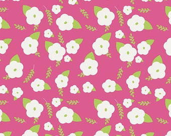GLEEFUL - Charms Abloom - Pink Green Floral Cotton Quilt Fabric - by Sew Caroline for Art Gallery Fabrics - AGF Limited Edition (W1972)