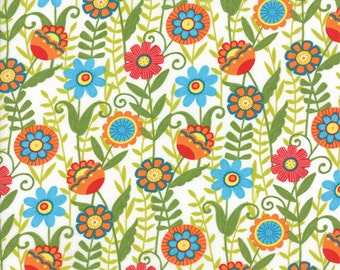 One Yard Bloomin' Fresh - Fresh Blooms in Clean White - Cotton Quilt Fabric - designed by Deb Strain for Moda Fabrics - 19661-16 (W2756)