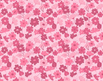 Bohemian Festival - Sprout in Pink - Floral Cotton Quilt and Sewing Fabric -Lila Tueller Designs for Riley Blake Fabrics - C2935-PINK (W546)