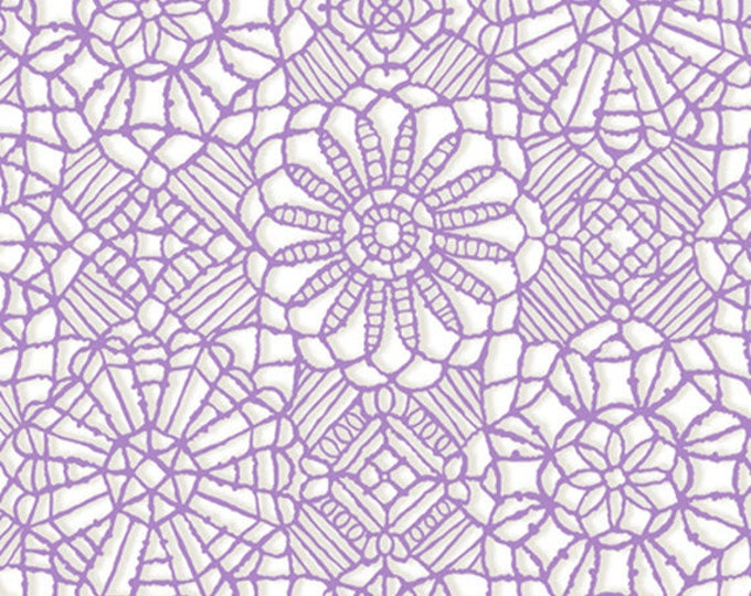 AMAZING LACE - Lace in White / Orchid Purple - (Not Actual Lace!!) Cotton Quilt Fabric - Quilting Treasures Fabrics - 24632-ZV (W5238)