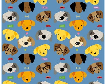 Rover - Main Dogs in Blue -  Adorable Puppy Dog Cotton Quilt Fabric - C5210-BLUE - Bella Blvd for Riley Blake Designs Fabrics (W4372)