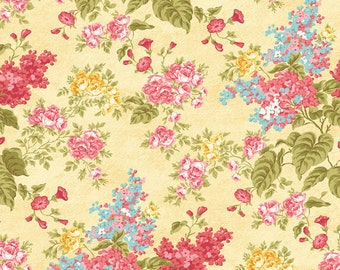 FOREVER LOVE (Flora) - Flora in Yellow - Blue Pink Floral Cotton Quilt Fabric - Eleanor Burns for Benartex Fabrics - 10140-33 (W4800)