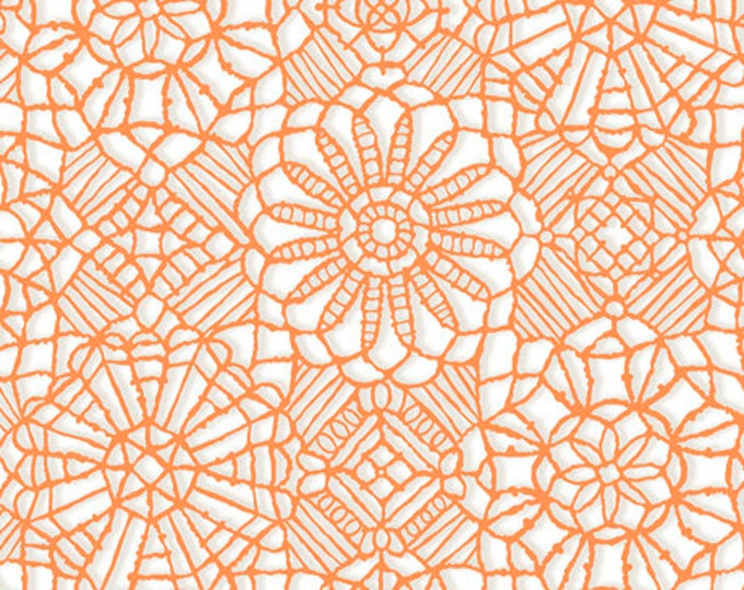 AMAZING LACE - Lace in White / Melon Orange - (Not Actual Lace!!) Cotton Quilt Fabric - Quilting Treasures Fabrics - 24632-ZO (W5233)