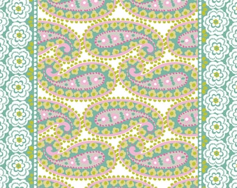 SUPER CLEARANCE! One Yard Paisleigh Teardrops in Turquoise Cotton Quilt Fabric - Maude Asbury for Blend Fabrics - Paisley Design (W418)