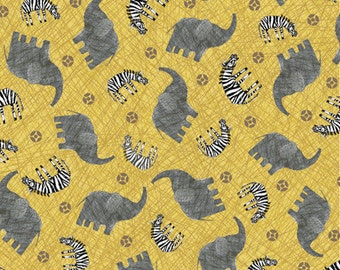 "25"" REMNANT Amboseli - Elephants and Zebras in Gold - Cotton Quilt Fabric - by Bethany Shackelford for Quilting Treasures (W1993)"