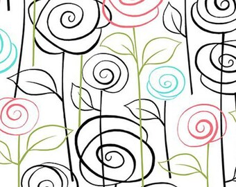 Not Your Garden Variety - Stylized Floral in White - Cotton Quilt Fabric - by Cindy Sepp for Quilting Treasures Fabrics - 25768-Z (W5244)