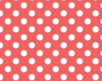 Medium Dots - White Dots on Rouge Pink - Cotton Quilt Fabric - C360-79 - Riley Blake Designs Fabrics (W2484)