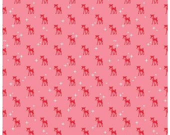COZY CHRISTMAS - Reindeer in Pink -  Holiday Cotton Quilt Fabric - C5364-PINK - by Lori Holt for Riley Blake Designs Fabrics (W4313)