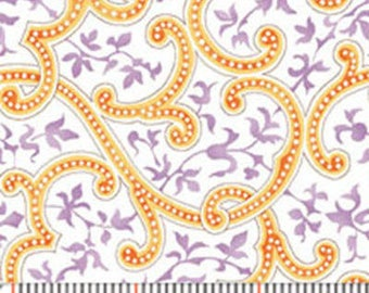 """23"""" REMNANT - MORE of This 'N That  - Wrought Iron in Marigold Orange - Cotton Quilt Fabric - by Nancy Halvorsen for Benartex (w1930)"""