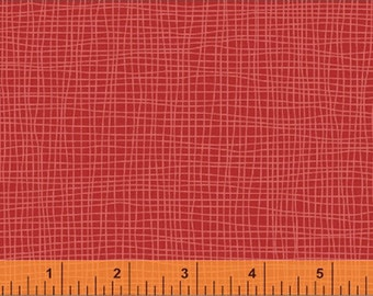 Bye Bye Birdy - Grid in Red - Geometric Blender Cotton Quilt Fabric - by American Vintage for Windham Fabrics (W2129)