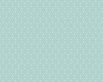 Half Yard Fly Aweigh - Circles in Aqua - Nautical Cotton Quilt Fabric - C3876-AQUA - by Samantha Walker for Riley Blake Designs (W2531)