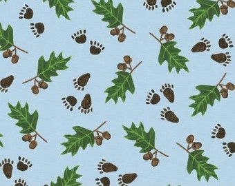 SUPER CLEARANCE! One Yard Paws and Leaves in Blue - The Three Bears Cotton Quilt Fabric - Windham Fabrics (W482)