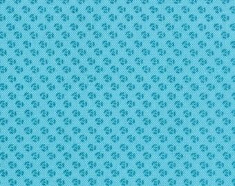 SEW STITCHY - French Knots in Glass Aqua Blue - Cute Sewing Novelty Cotton Quilt Fabric - Aneela Hoey for Moda Fabrics - 18548-11 (W4135)