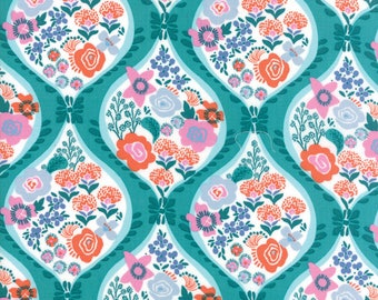 VOYAGE - Meuse in Turquoise - Beautiful Blue Green Orange Pink Floral Cotton Quilt Fabric - 27280-11 - Kate Spain for Moda Fabrics (W4484)