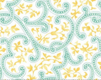 5/8 Yard REMNANT This 'N That - Wrought Iron in Aqua - Cotton Quilt Fabric - Designed by Nancy Halvorsen for Benartex (w1675)