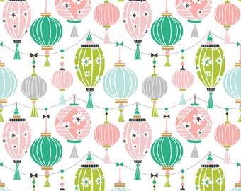 PANDA-RAMA - Lantern in Pink - Blue Green Lanterns Cotton Quilt Fabric - by Maude Asbury for Blend Fabrics - 101.129.02.2 (W4289)