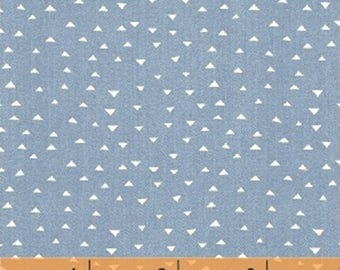 ATLAS - Mini Pyramids in Denim Blue - Geometric Cotton Quilt Fabric - by Another Point of View for Windham Fabrics - 42300-2 (W3827)