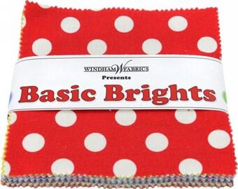 "Windham Basic Brights Charm Pack - (42) 5"" X 5"" Squares Cotton Quilt Fabric - Bright Basics - Windham Fabrics - CP5BB  (W1455)"