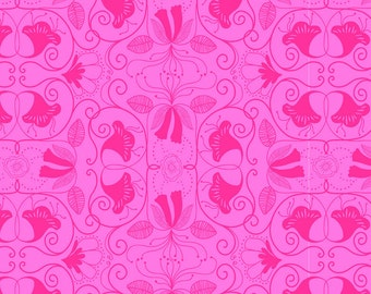 Molokai - Islandia in Pink - Floral Swirl Cotton Quilt Fabric - by Jessica Swift for Blend Fabrics (W7)