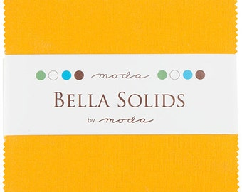 "BELLA SOLIDS Charm Pack in Cheddar Orange - (42) 5"" x 5"" Squares - Cotton Quilt Fabric Precuts - Moda Fabrics - 9900PP-152 (W2747)"