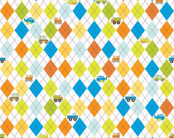 SUPER CLEARANCE!  One Yard On The Go - Argyle in White - Orange Blue Cotton Quilt Fabric - Bo Bunny for Riley Blake Fabrics  (W565)