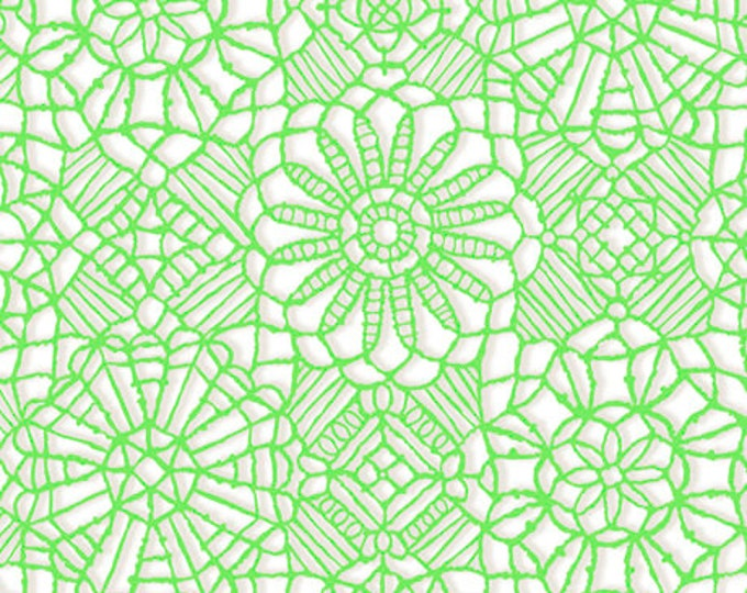 AMAZING LACE - Lace in White / Spring Green - (Not Actual Lace!!) Cotton Quilt Fabric - Quilting Treasures Fabrics - 24632-ZG (W5231)