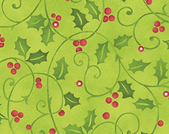 Fat Quarter Santa's Here - Merry Holly in Willow Green - Cotton Quilt Fabric - Inspired by Nancy Halvorsen for Benartex - 6074-44 (W2977)