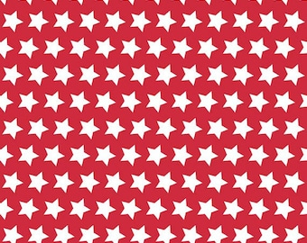 Half Yard Riley Blake 2015 Basics - Stars in Red - Cotton Quilt Fabric - by The RBD Designers for Riley Blake - C315-80 (W3252)