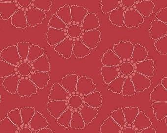 Half Yard Hazel - Stencil Flower in Red - Cotton Quilt Fabric - Allison Harris of Cluck Cluck Sew for Windham Fabrics - 40839-4 (W3411)