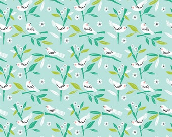 PANDA-RAMA - Love Bird in Blue - Birds Cotton Quilt Fabric - by Maude Asbury for Blend Fabrics - 101.129.04.2 (W4288)