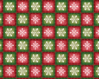 SALE!! Winter Wishes - Snowflake Check in Red and Green - Cotton Quilt Fabric - Michele D'Amore - Benartex Fabrics - 3483-84 (W696)