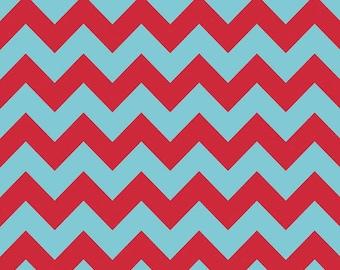 Medium Chevron - Tone on Tone in Aqua Blue / Red - Cotton Quilt Fabric - C380-07 - Riley Blake Designs Fabrics (W3319)