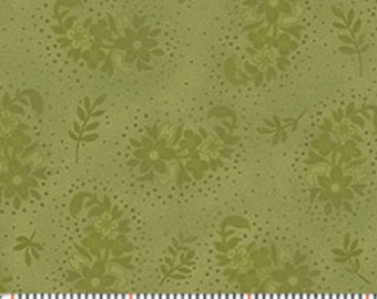 "15"" REMNANT Zoey - Evening Garden in Bamboo Green - Floral Cotton Quilt Fabric - Eleanor Burns - Benartex Fabrics - 717-40 (W3511) Christine"