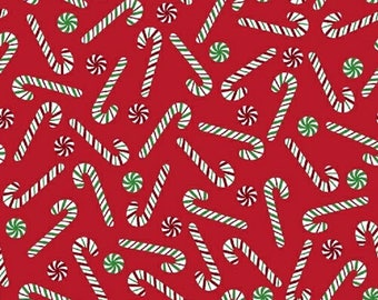 JOY - Candy Cane in Red - Christmas Peppermint Canes - Holiday Cotton Quilt Fabric - Bread & Butter for Windham Fabrics - 42999-3 (W4362)