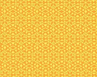 Ho-Ho-Ho Let It Snow - Frosted Window in Gold - Yellow Snowflake Christmas Cotton Fabric - Nancy Halvorsen - Benartex Fabrics -3292-30 w967