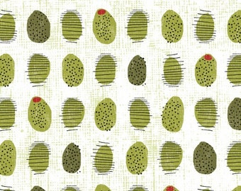 """34"""" REMNANT Cooking Italiano - Green Olives in White - Cotton Quilt Fabric - Sue Schlabach for Windham Fabrics - 39403-2 (W3375)"""