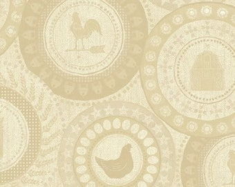 Farm to Table - Farm Patches in Cream - Chicken Rooster Barn Cotton Quilt Fabric - Whistler Studios for Windham Fabrics - 41798-2 (W4271)