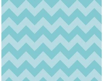 Medium Chevron - Tone on Tone in Aqua Blue - Cotton Quilt Chevrons Fabric - C380-24 - Riley Blake Designs Fabrics (W4295)